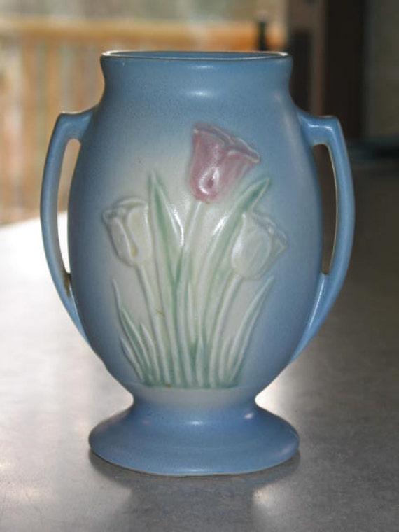 Hull Art Pottery Tulip Handled Vase Matte Pastel Blue By Junctique