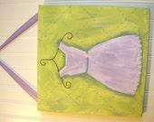 "girl kid room decor..baby nursery wall art..original canvas painting..painted artwork..12 x 12 princess periwinkle lilac ""the purple dress"""