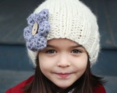 Knitting Pattern Slouchy Hat with Flower Child to Adult sizes AVA
