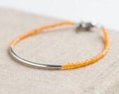 Bar Bracelet with transparent orange seed beads - minimalist bracelet - friendship bracelet - glass jewelry - halloween bracelet