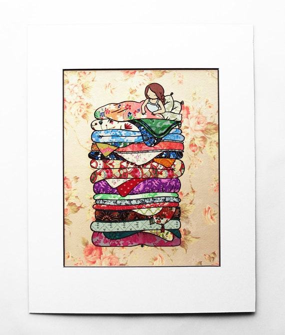 8x10in Princess and the Pea - fine art color archival print - whimsical fairy tale art