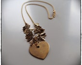 Heart of Gold (Brass Leaves and Heart Necklace)