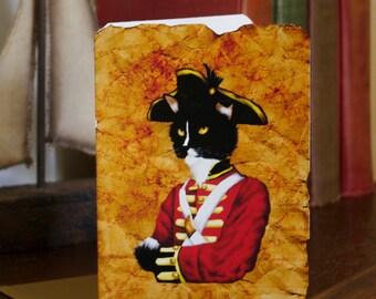 Tuxedo Cat Greeting Card, Redcoat British Military Uniform, Regency Cat Art