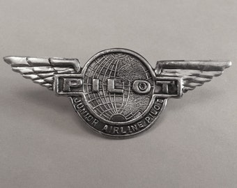 1950s-60s Tin Toy JUNIOR AIRLINE PILOT Badge Hong Kong (Pick 1, 2, 4, or 8)