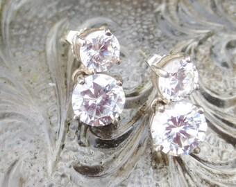 Vintage Earrings Silver Cubic Zircons Post Clutch Dangles
