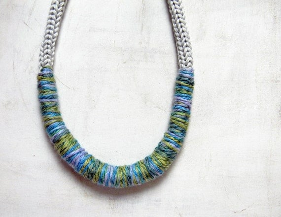 Statement necklace, cotton thread. Grey pearl,  pale blue, turquoise, apple green.