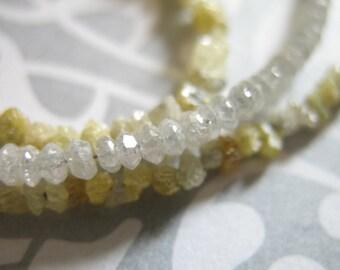 Shop Sale.. 10 pcs, White DIAMOND Beads, Diamond RONDELLES, Luxe AAA, 1.5-2 mm, white silver gray brides bridal april birthstone drw 20