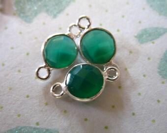Shop Sale.. GREEN ONYX Gemstone Connectors Links, Bezel Set, 1 pc, 12x7 mm, Sterling Silver, emerald green mini, may birthstone gcl5