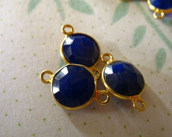 Shop Sale, 1 pc, Bezel Gem Connectors Links, Bezel Sapphire Charm, 8-9 mm, 24k Gold Vermeil, september birthstone blue petite gcl10
