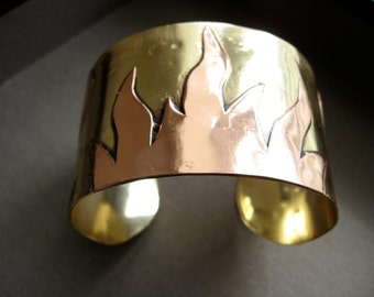 Hand forged two tone flame cuff in copper and bronze