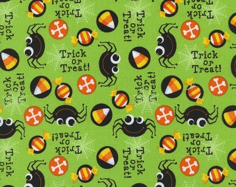 Halloween Spiders in Lime Timeless Treasures - 1 Yard