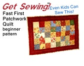 Quilt Pattern - Fast First Quilt Easy sewing pattern for beginners - lap size/baby size
