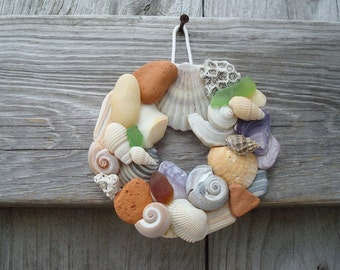 Seashell Wreath - Shell Wreath - Small Shell Wreath - Shell Home Decor - Beach Home Decor - Natural Shell Wreath