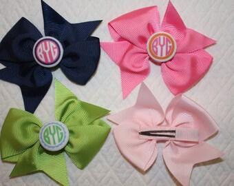 Hair Bow with Custom Monogram for Little Girls