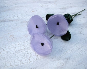 Flowers with stems, home decor, fabric flowers, handmade organza flowers- set of 3 pcs- LAVENDER POPPIES (as seen in Brides magazine)