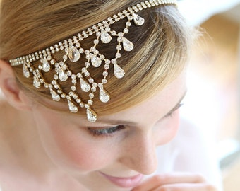 Crystal headchain, wedding headchain, hair jewlery, rhinestone headband  - style 241