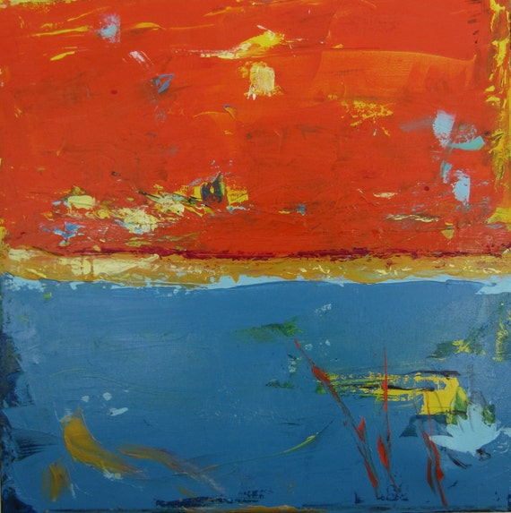 abstract original art modern contemporary orange blue painting. Black Bedroom Furniture Sets. Home Design Ideas