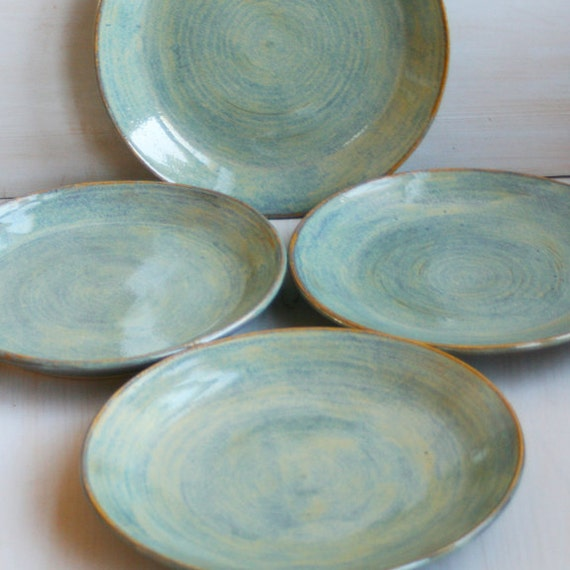 Ceramic Dinner Plates Rustic Green Plates By Andoverpottery