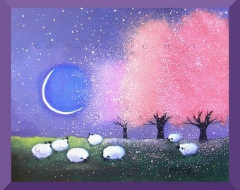 Spring Glow  A Sheep Apple Blossoms Crescent moon Meadow PRINT by Deborah Gregg