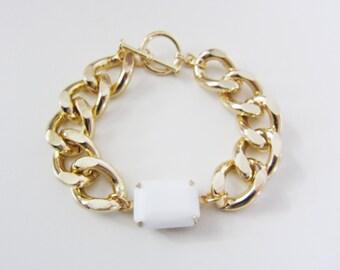 Milk White Gem & Gold Chain Bracelet