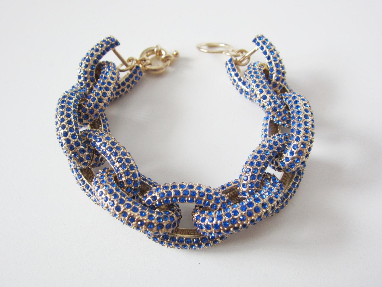 cobalt pave link bracelet by yunikelley on etsy