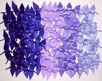 100 Small Origami Cranes Origami Paper Cranes Paper Crane Origami Crane - Made of 7.5cm 3 inches Japanese Paper - 5 Purple Colors