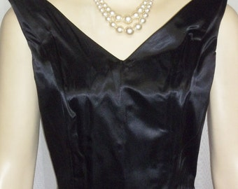Vintage 1950's 1960's Cocktail Wiggle Dress Black Satin Pin-Up Small