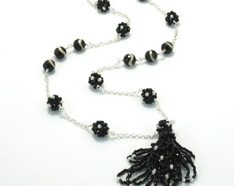 Long Necklace, Linked Necklace, Beaded Necklace, Black Necklace, Gift, Fashion Jewelry