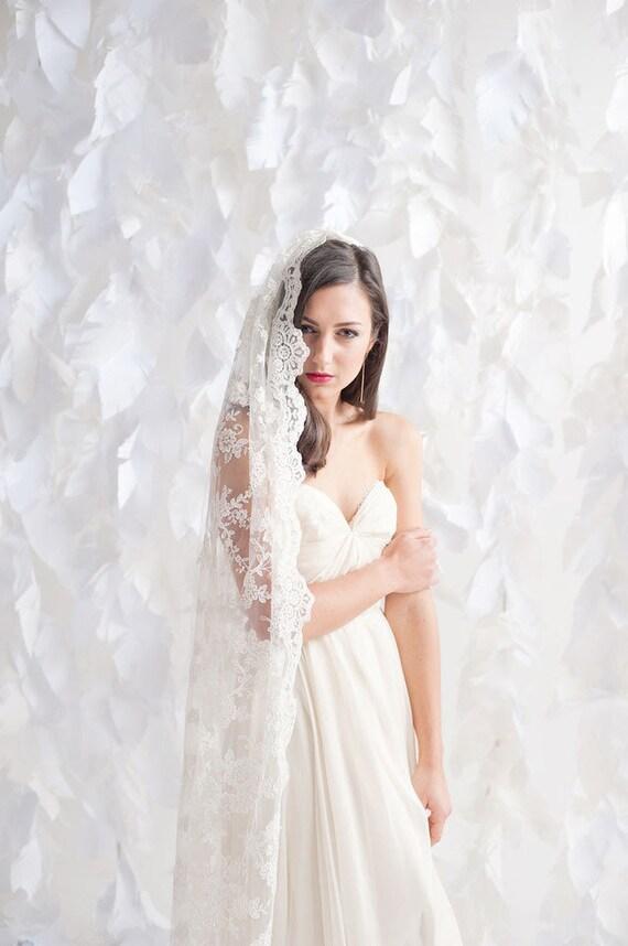 Chapel length lace veil