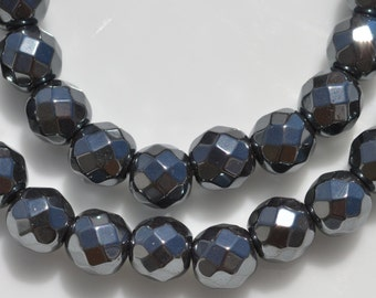 32 Hematite 6mm Faceted Round Beads BD875