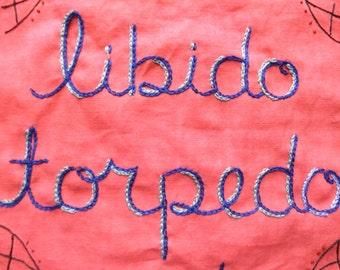 Libido Lesson, Modern Tapestry, Original Art, Outsider Art, Hand Embroidery, Sex, Boudoir, Couples Gift