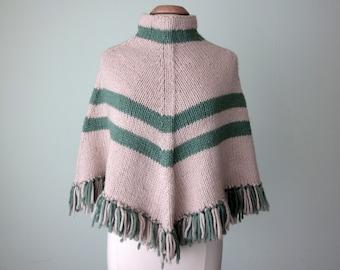 70s poncho / knit sweater cream & mint striped fringe cape (xs - s - m)