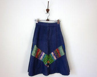 70s skirt / patchwork chevron stripe denim blue jean cotton aline high waist (xs - s)