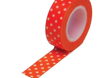 Trendy Tape Washi Tape - Orange with White Polka Dots  - 10 YDS (1 roll)