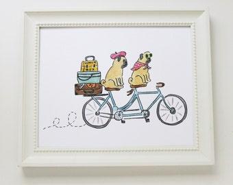Art Print - Tandem Bicycle Pugs