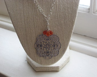 CLEARANCE: Silver Filagree Pendant and Faceted Carnelian Teardrop Necklace on Silver Chain