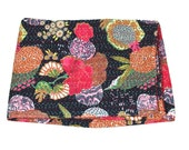 Twin size Bedcover in Black - Throw - Katha quilts - Quilted bedcovers - Floral Quilt - Reversible Quilt - Spring Collection Quilts