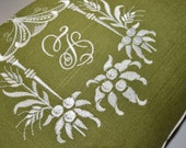 Avocado Green and Ivory- Exclusive Pagoda Monogram Embroidery - HOMAGE to DOROTHY DRAPER