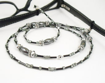 Hematite, Black and Metallic Silver Glass Eyeglass Lanyard, Eyeglass Leash/Necklace