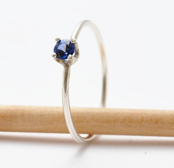 sapphire gemstone ring simple blue sterling by