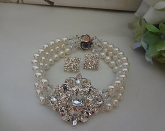 Bridal Pearl Bracelet and earrings, Chunky Wedding Bracelet earring set, Diamond Rhinestone Bracelet.vintage style Bridal Bracelet Donna set