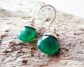Green chalcedony earrings. Green earrings. Wire wrapped earrings. Silver earrings. Stone earrings. Briolette earrings. Kelly green.
