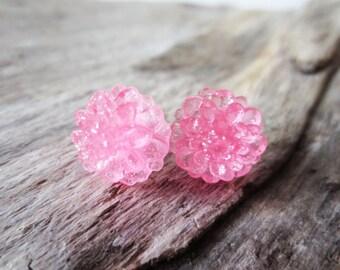 Baby pink flower earrings.  Silver post earrings.  Itty bitty stud earrings.