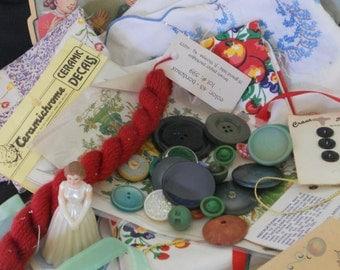 Grab Bag of Vintage Finds, Sewing Supplies, Vintage Sewing Supplies, DIY