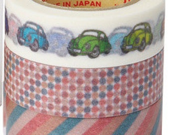 Rink Washi Masking Tape - Cars, Dots & Stripes - Set 3 - Roll Mansion