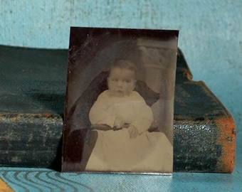 Baby Olivia...  tintype of a little girl c. 1800...  L Bag 3