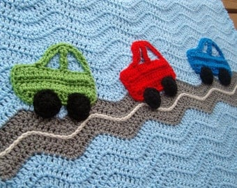 Crochet Cars Ripple Blanket - A Baby Boy Ripple Afghan in