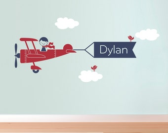 Airplane Wall Decal Boy Message Name Banner for Baby Boy Nursery