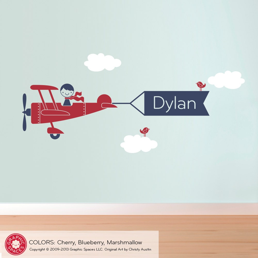 Airplane Wall Decal Boy Personalized Banner For By