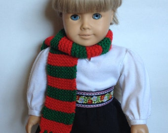 Red & Green Christmas Scarf for Doll or Baby